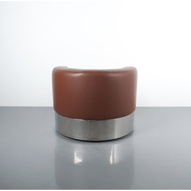 Italian Franco Fraschini Brown Leather Chair for Driade, Italy, 1965 For Sale - Image 3 of 11