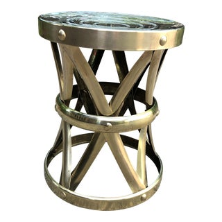 1960's Boho Chic Brass Drum Table Stool Hollywood Regency Mid Century For Sale