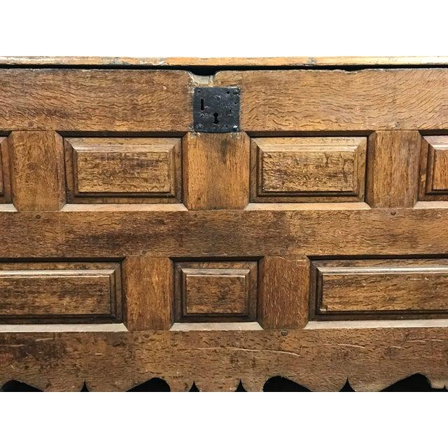18th Century Primitive Oak Linen Coffer Chest - Image 11 of 13