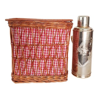 Pink Ginham Lined Picnic Basket With Vintage Thermos For Sale