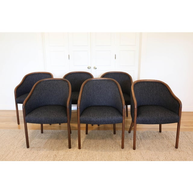 Wood 1960's Vintage Ward Bennet for Brickell Upholstered Club Chairs- Set of 6 For Sale - Image 7 of 7