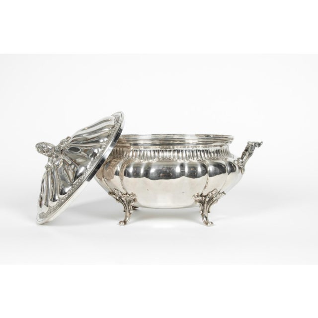 Metal Large Antique Sterling Silver Two Piece Covered Tureen For Sale - Image 7 of 13