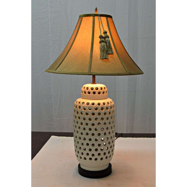 Asian Mid-Century White Perforated Porcelain Table Lamp For Sale - Image 3 of 9