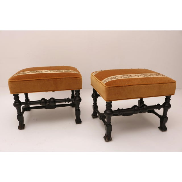 Pair of 19th Century Italian Stools, Rectangular with Gold Velvet and Embroidered Fabric - Image 2 of 8
