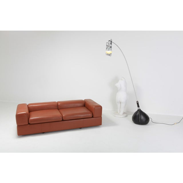 Minimalist Cognac Leather Sofa by Tito Agnoli for Cinova For Sale - Image 11 of 12
