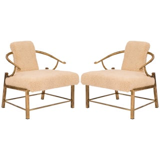 Pair of Mastercraft Patinated Brass Lounge Chairs For Sale