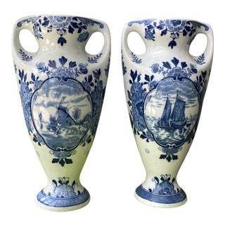 Mid 20th Century Blue Delft Vases - a Pair For Sale