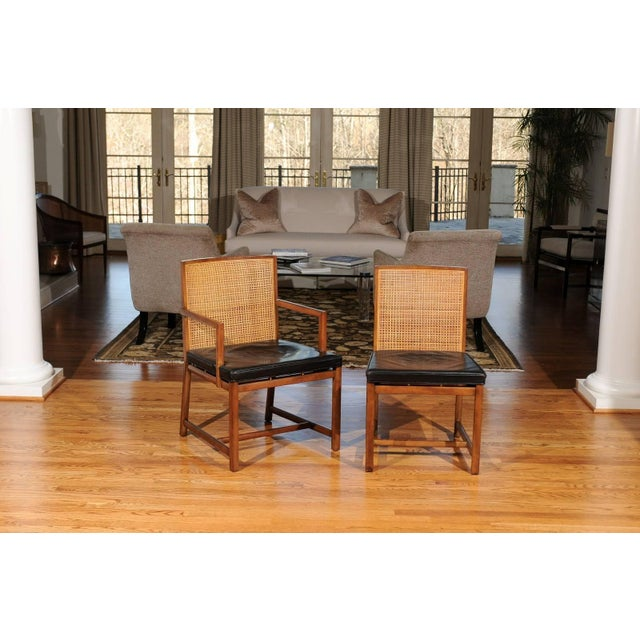Mid-Century Modern Rare Surviving Set of Six Coveted Cane Dining Chairs by Michael Taylor for Baker For Sale - Image 3 of 11