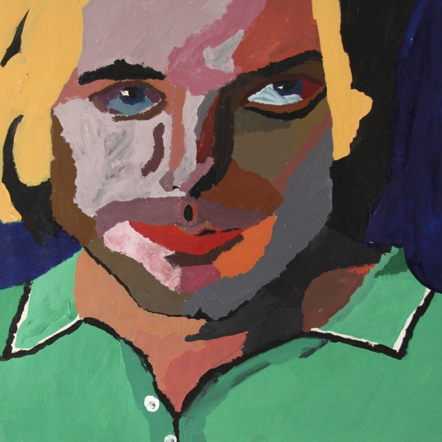 Vintage Pop Art Original Painting of a Man - Image 2 of 3
