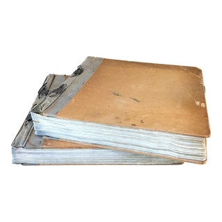 Vintage 1962 Belgian Tan Bound Ledgers - a Pair