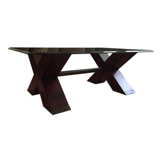 Henredon Double X Base Glass Top Coffee Table For Sale