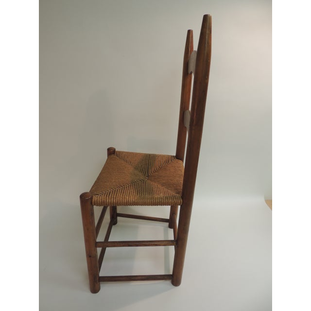 Country Antique Shaker Country Child's Chair with Rush Seat For Sale - Image 3 of 5