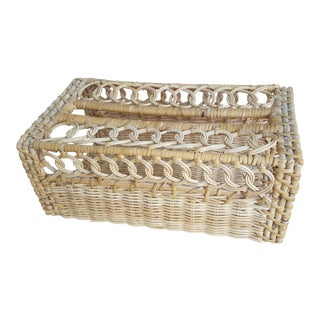 Vintage Wicker Rattan Tissue Box Holder For Sale