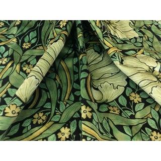 Art Nouveau Dark Green William Morris Pimpernel Velvet Upholstery Fabric For Sale