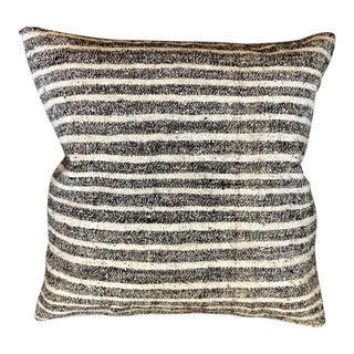 """Unico"" Brown & White Striped Wool Pillow by Le Lampade For Sale"