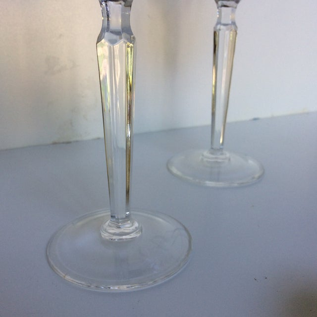 Cut Crystal Gold Rim Wine Glasses - a Pair For Sale - Image 11 of 13
