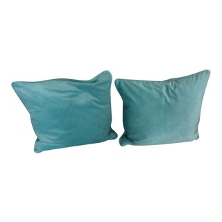 Contemporary Italian Velvet Mint Green Pillows - a Pair For Sale