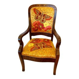Butterfly Embroidered Arm Chair For Sale