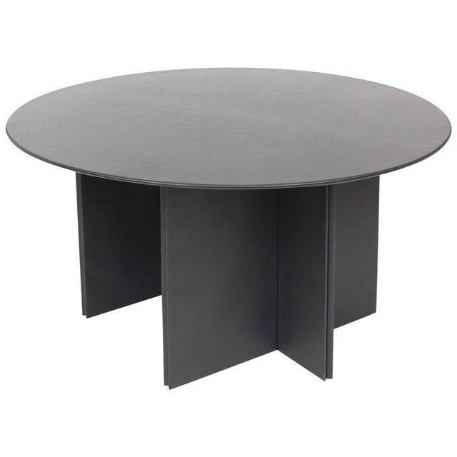 Round Dining Table in Black Leather for Durlet, 1970s For Sale - Image 10 of 10