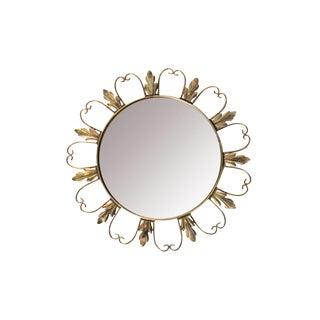 Convex Brass Floral Mirror