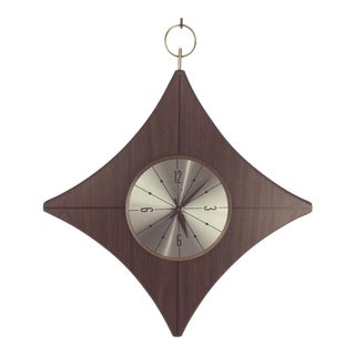 1960s Mid Century Modern Elgin Diamond Shaped Clock