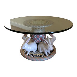 MacKenzie-Childs Glass Topped Bunny Table For Sale