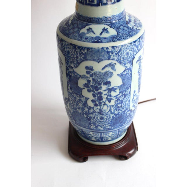 Pair of 19th Century Chinese Blue and White Vase Lamps For Sale - Image 4 of 10