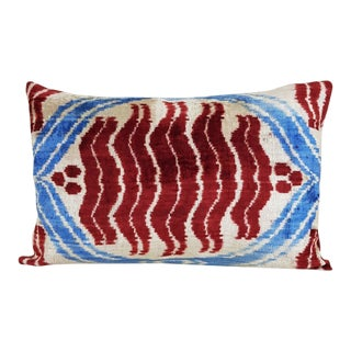 Red and Blue Chintamani Book Gils Ikat Pillow For Sale