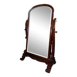 Traditional Maitland Smith Mahogany Cheval Floor Mirror For Sale