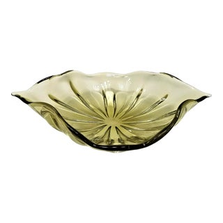 Huge Murano Glass Gold Centerpiece Bowl - Mid Century Modern Palm Beach Boho Chic Venetian Italy Italian For Sale