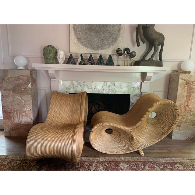 Art Deco Sculptural Pencil Reed Bamboo Ear Lounge Chair For Sale - Image 3 of 13