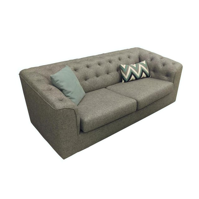 Charcoal Button Back Sofas - A Pair - Image 2 of 5