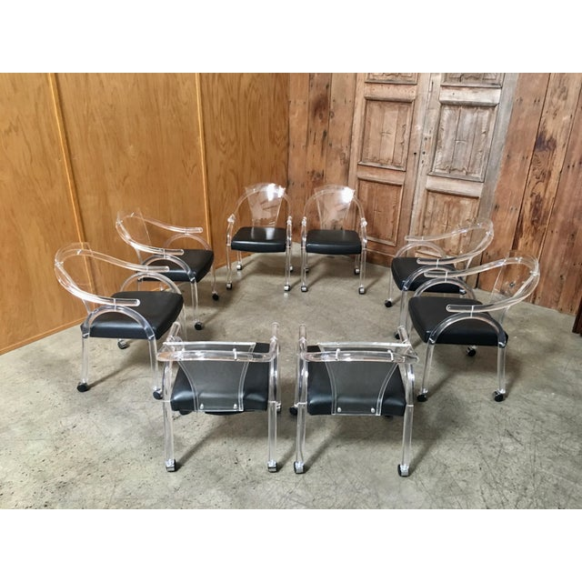 Vintage Mid Century Sculptural Lucite Dining Chairs- Set of 8 For Sale - Image 4 of 13