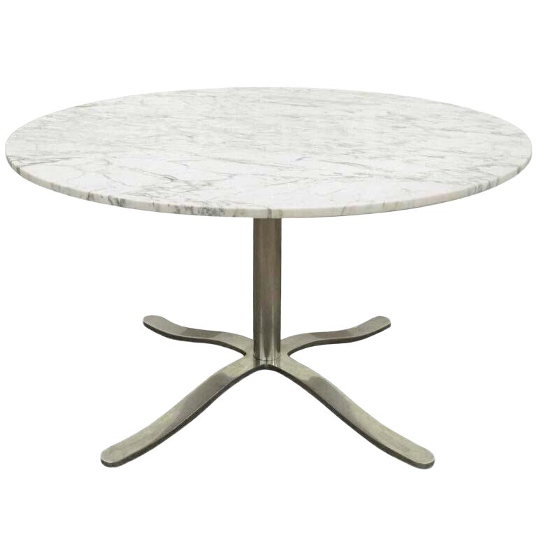 1960s Mid Century Modern Nicos Zographos Round Marble Top Chrome Steel Pedestal Base Dining Table