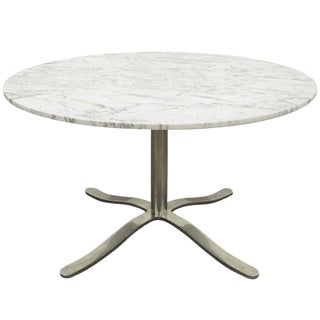 1960s Mid-Century Modern Nicos Zographos Round Marble Top Chrome Steel Pedestal Base Dining Table For Sale