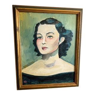 Original Portrait Painting of Violette Szabo, Secret Agent For Sale