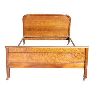 Antique Tiger Oak Demilune Full Size Double Bed C.1900 For Sale