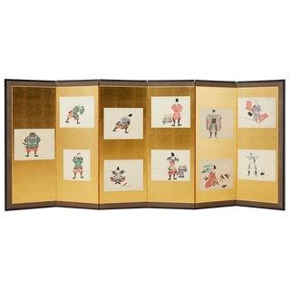 Japanese Meiji Period Six-Panel Screen Samurai Armour For Sale