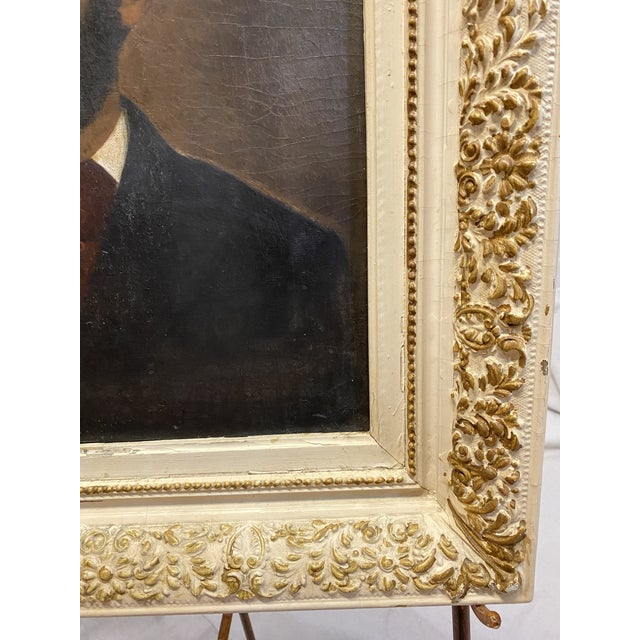 Late 19th Century Antique 19th C. Oil on Canvas Portrait of a Handsome Bearded Man White Gilt Gold Frame For Sale - Image 5 of 11