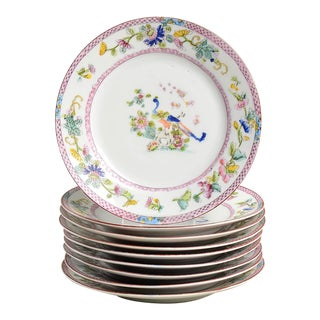 Noritake Pink with Bird of Paradise Bread & Butter Plates - Set of 9 For Sale