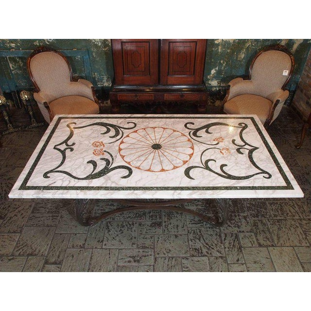 Antique Italian Mosaic Marble Table on French Iron Table Base - Image 2 of 8