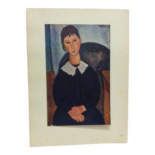 "1947 Vintage Modigliani ""Portrait a La Collerette"" French Mounted Color Print For Sale"