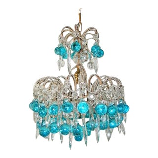 French Beaded Aqua Blue Murano Balls and Crystals Chandelier For Sale
