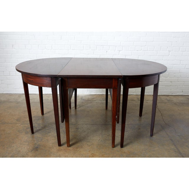 English Hepplewhite Mahogany Dining Table With Demilunes For Sale - Image 12 of 13