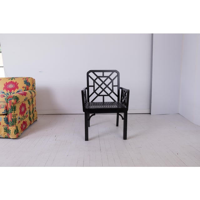 1980s 1980s Vintage Madcap Cottage Black Chinoiserie Fretwork Chairs-a Pair For Sale - Image 5 of 13