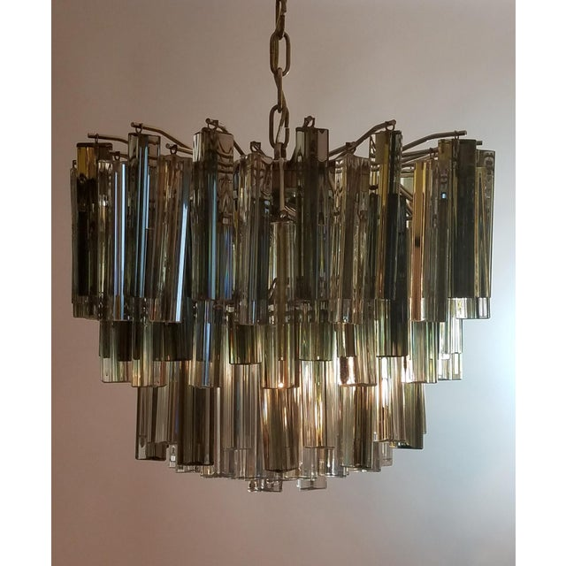 Modern Mid-Century Modern Venini Clear & Dark Glass Chandelier For Sale - Image 3 of 11