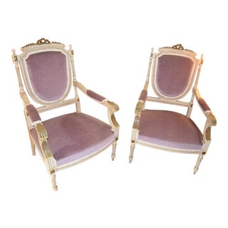 Antique Victorian Style Parlor Armchairs Newly Upholstered - Set of 2 For Sale