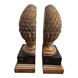 British Colonial Ethan Allen Giltwood Pineapple Bookends - a Pair