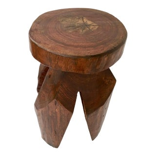 """20th Century Organic Modern Hand Carved """"Tree Trunk"""" Side Table or Stool"""
