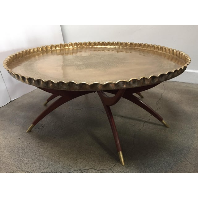 Large Mid-Century Round Brass Tray Table on Folding Stand For Sale - Image 12 of 12